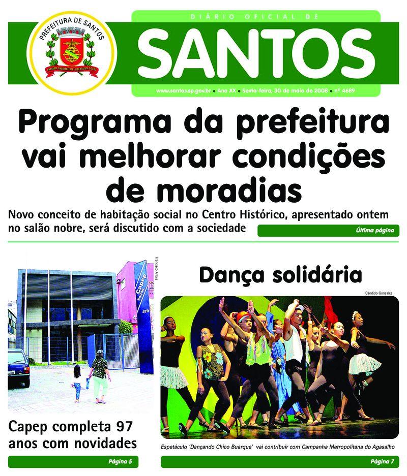 67751e8c85 Diário Oficial - 30 05 2008 - Prefeitura de Santos