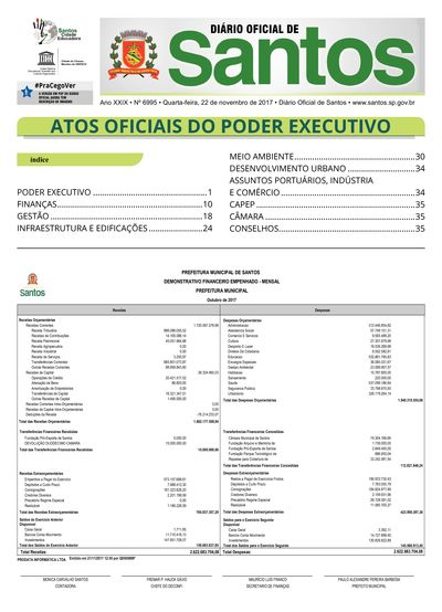 Imagem da primeira página do Diário Oficial de 22/11/2017