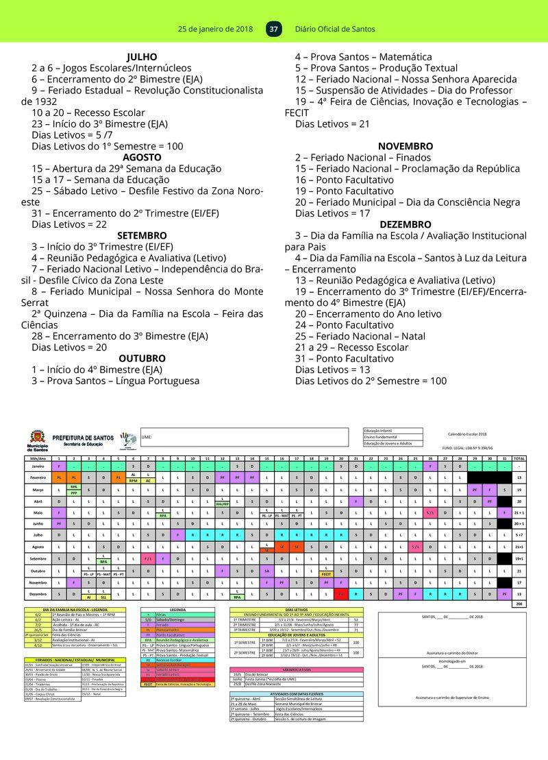 Calendario Santos.Diario Oficial 25 01 2018 Prefeitura De Santos