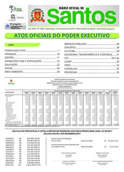 Imagem da primeira página do Diário Oficial de 23/02/2018