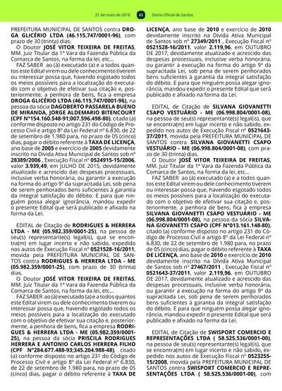 642e6108ba 42  Imagem da página 43 do Diário Oficial de 21 05 2018