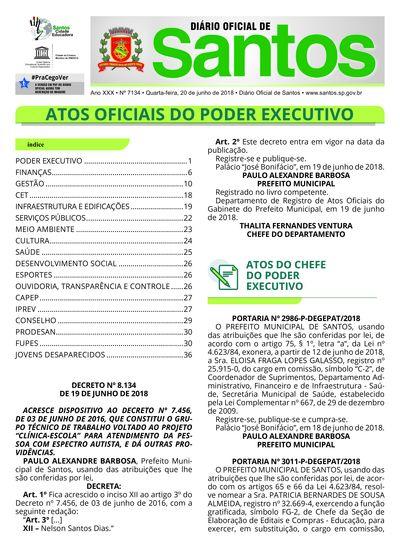 Imagem da primeira página do Diário Oficial de 20/06/2018