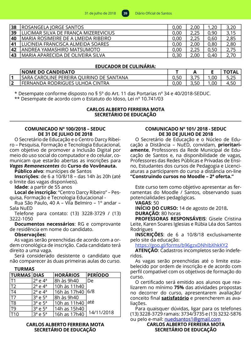 31 de julho de 2018 38 39 40 41 42 43 39 Diário Oficial de Santos acf80714e9099