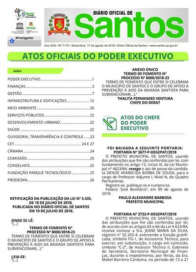Imagem da primeira página do Diário Oficial de 17/08/2018