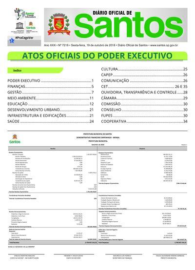 Imagem da primeira página do Diário Oficial de 19/10/2018