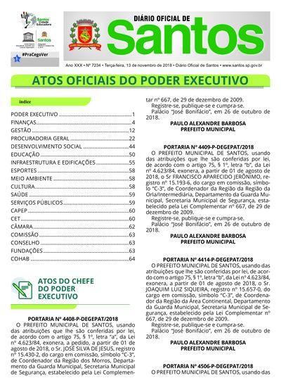 Imagem da primeira página do Diário Oficial de 13/11/2018