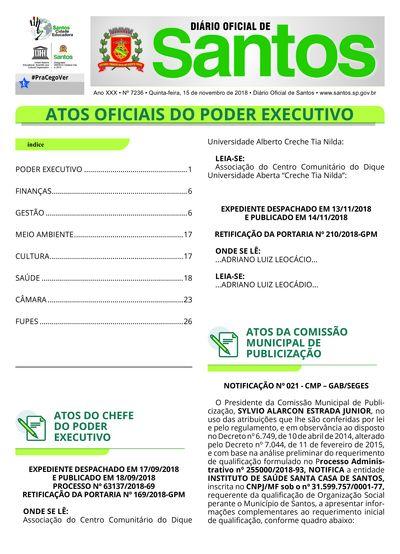Imagem da primeira página do Diário Oficial de 15/11/2018