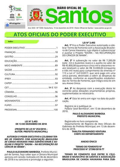 Imagem da primeira página do Diário Oficial de 14/12/2018