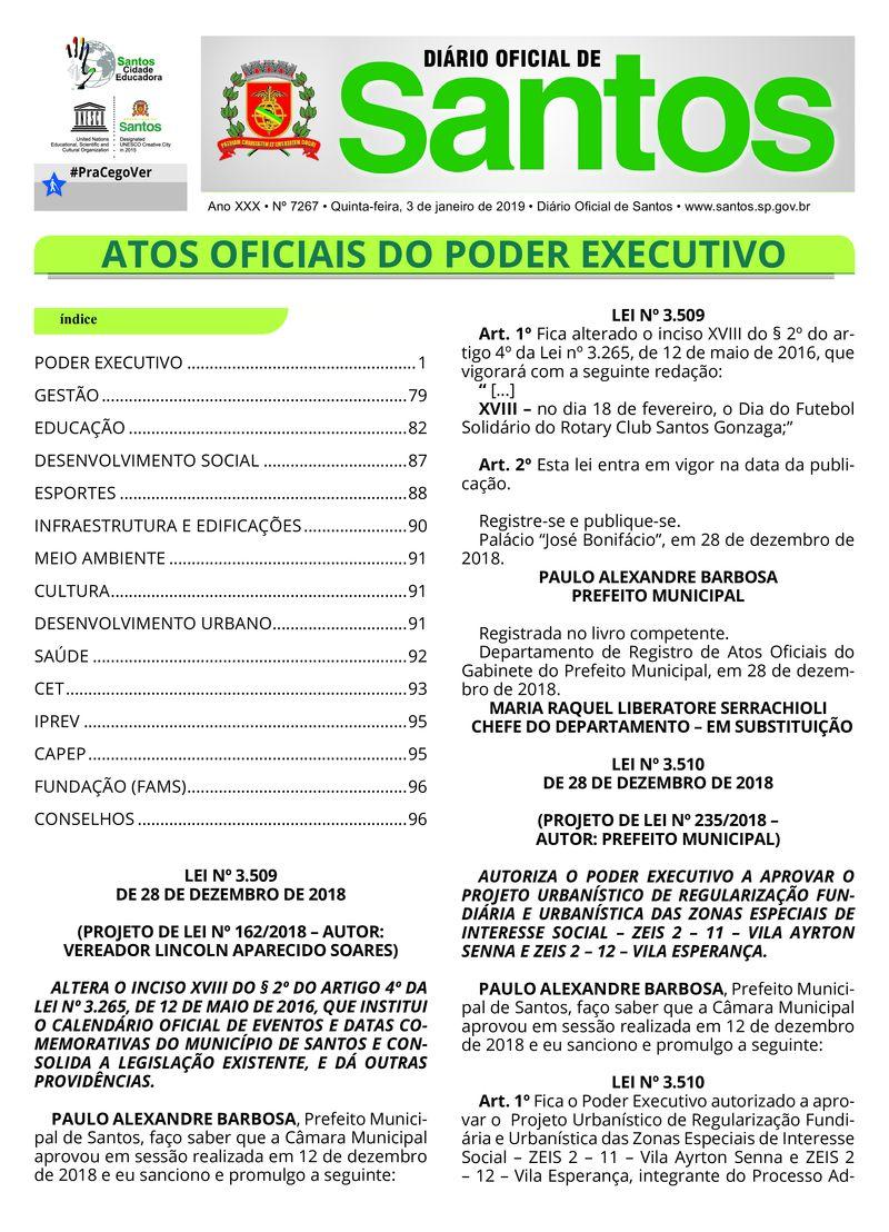 Calendario Con Santos.Diario Oficial 03 01 2019 Prefeitura De Santos