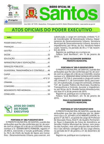 Imagem da primeira página do Diário Oficial de 18/01/2019