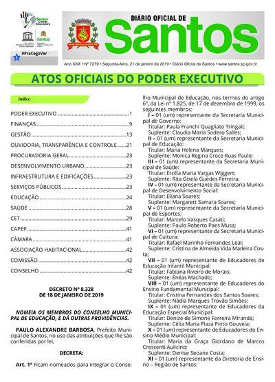 Imagem da primeira página do Diário Oficial de 21/01/2019