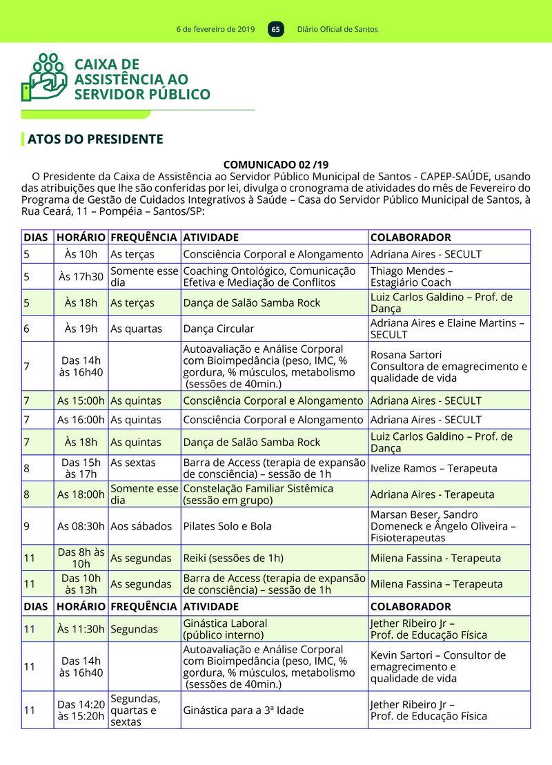 6 de fevereiro de 2019 65 Diário Oficial de Santos CAIXA DE ASSISTÊNCIA AO  SERVIDOR PÚBLICO 70284e91adf07