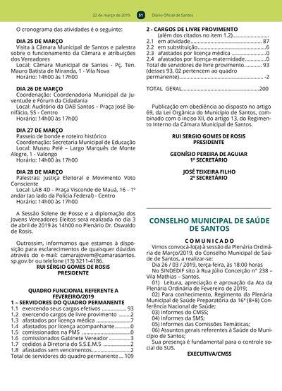 Diário Oficial - 22/03/2019 - Prefeitura de Santos